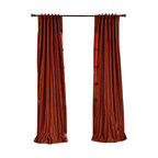"""Exclusive Fabrics & Furnishings, LLC - Burnt Orange Vintage Textured Faux Dupioni Silk Curtain - 100% Polyester. 3"""" Pole Pocket with Back Tabs. Lined. Interlined. Imported. Weighted Hem. Dry Clean Only."""