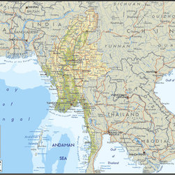 Murals Your Way - Myanmar / Burma Wall Art - A map by EGLLC Maps, the Myanmar / Burma wall mural from Murals Your Way will add a distinctive touch to any room