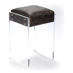 Kathy Kuo Home - Modern Hollywood Regency Black Faux Leather Acrylic Vanity Counter Stool - Finally, a counter stool as glamorous as you. From its modern acrylic base to its cosmic silver black faux leather upholstery, this counter stool will add style to your contemporary Hollywood décor and make you feel like you're relaxing between takes in an old Hollywood film. Of course, you're the star.  This item is made to order - please allow for a 3 - 4 week lead time for production.
