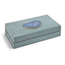 Kathy Kuo Home - Destin Coastal Beach Turquoise Shagreen Blue Agate Rectangle Decorative Box - Sm - Low and lean, this shagreen-covered box adds a Coastal Beach accent to a dresser, table or nightstand. Rich and vibrant, the textured turquoise finish is bejeweled with a slice of teal agate on the top. It is the perfect place for your personal treasures.