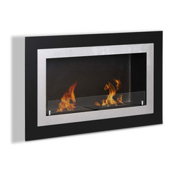 "Ignis Products - Villa Built-In / Wall Mounted Ventless Ethanol Fireplace with Glass Barrier - Give any room a functional modern update with the addition of this Villa Recessed Ventless Ethanol Fireplace. This fireplace comes with everything you need to create a warm, friendly, and inviting atmosphere in your living room, den, or elsewhere. It features a stainless steel inner frame and black glass outer frame. Unlike traditional fireplaces, this clean-burning ethanol fireplace doesn't require gas or electrical lines, and it doesn't need a chimney to work. It is super easy to install and comes with two 1.5-liter burners that throw 12,000 BTUs of warm, comforting heat. Dimensions: 35.5"" x 21.6"" x 6.25"". Features: Ventless - no chimney, no gas or electric lines required. Easy or no maintenance required. Easy Installation - Can be mounted directly on the wall or recessed (mounting brackets included). Capacity: 1.5 Liters per Burner. Approximate burn time - 5 hours per Burner per refill. Approximate BTU output - 6000 per Burner (Total BTU - 12000)."