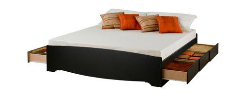 Prepac Furniture - Prepac King Platform Storage Bed with 6 Drawers in Black - Six large drawers positioned below the King Platform Storage Bed with 6 Drawers in Black - Prepac Furniture are for clothing, linens, blankets, magazines, etc. Extra deep drawers run on smooth, all-metal roller glides with built-in safety stops. This bed is made of melamine laminate and composite wood, easy to clean and ready to assemble. It has profiled moldings. The drawers open easily with finger-pulls on the bottom of the drawer fronts.
