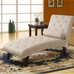 None - Taupe Velvet Fabric Chaise Lounger - Bring some stately style to your home decor with this taupe velvet chaise lounge. The wooden legs feature an attractive cappuccino finish. This lounger features a curved,tufted back with foam filling and includes a decorative roll pillow.