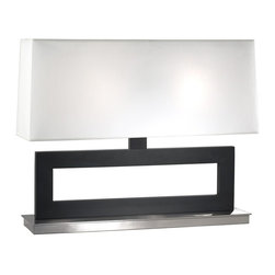 Sonneman Lighting - Sonneman Lighting Otto Transitional Table Lamp X-82.5153 - From the Otto Collection, this Sonneman Lighting table lamp is a delightful way to add clean, modern flair to your home. This transitional table lamp has been finished in Black Steel and features beautiful Satin Nickel finishing on the base. The rectangular body has been paired with an equally slender, but wide rectangular white linen shade.