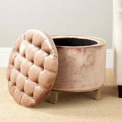 Safavieh - Safavieh Amelia Mink Brown Cotton Viscose Blend Tufted Storage Ottoman - The quintessential storage ottoman, Amelia is transitional in design with button tufted removable quilted top and oak legs with pretty pickled oak finish.
