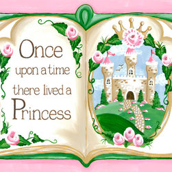 """Sherri Blum / Jack and Jill Interiors, Inc. - Once Upon a Time Princess Storybook, Art for Kids, Nursery Art, 40x30 - Storybook Once Upon a Time princess nursery wall art by Sherri Blum of Jack and Jill Interiors. Measuring 40""""x30"""", this giclee canvas reproduction is made in the USA of the finest materials. Our princess decor is the finishing touch for your pink princess girl's room, princess theme nursery and will be an heirloom to enjoy for generations in any fairytale room."""