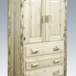 "Montana Woodworks - Montana Armoire, Lacquered - This rustic, handcrafted armoire will bring rustic charm into any room of your home. The armoire can be used for a variety of purposes from wardrobe storage to securely displaying your television monitor or display. Made from solid, American grown wood, the edge glued panels utilized in the armoire and other Montana Woodworks furniture is nicely complimented by genuine lodge pole pine accents that are skip peeled by hand with old-fashioned draw knives. Two raised panel doors conceal a large (appx. 40W x 22D x 38H) storage area. The three drawers each measure 33"" W x 16"" D and feature easy glide drawer slides for years of trouble free use. A one-inch removable dowel spans the width of the inside to allow for hanging of clothing. Comes fully assembled. 20-year limited warranty included at no additional charge. Hand Crafted in Montana U.S.A.; Solid, U.S. grown wood; Skip-peeled by hand using old fashioned draw knives.; Heirloom Quality; 20 Year Limited Warranty; Durable Build, Fit and Finish; Each Piece Signed By The Artisan Who Makes It; Solid Wood, Edge Glued Panels; Easy Glide Drawer Slides. Dimensions: 45""W x 25""D x 72""H"