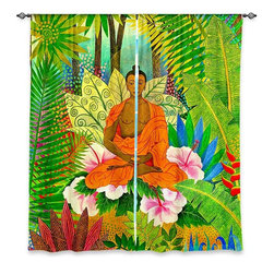 """DiaNoche Designs - Window Curtains Lined by Jennifer Baird Buddha in the Jungle - Purchasing window curtains just got easier and better! Create a designer look to any of your living spaces with our decorative and unique """"Lined Window Curtains."""" Perfect for the living room, dining room or bedroom, these artistic curtains are an easy and inexpensive way to add color and style when decorating your home.  This is a woven poly material that filters outside light and creates a privacy barrier.  Each package includes two easy-to-hang, 3 inch diameter pole-pocket curtain panels.  The width listed is the total measurement of the two panels.  Curtain rod sold separately. Easy care, machine wash cold, tumble dry low, iron low if needed.  Printed in the USA."""