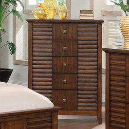 Furniture of America - Stenner Slats 5 Drawer Chest - Walnut Brown - IDF-7981C - Shop for Dressers from Hayneedle.com! Accent any bedroom with the Stenner Slats 5 Drawer Chest Walnut. The unique transitional design of this chest is crafted of solid wood. The rich walnut finish complements the front panel louver design beautifully. Its five spacious drawers open with ease with the help of its smooth full extension glides. Stylish antique brass drawer handles embellish each drawer. Assembly is required. About Furniture of AmericaBased in California Furniture of America has spent more than 20 years establishing itself as a premier provider of fine home furnishings to urban-minded shoppers. The people behind the brand are moved by passion hard work and persistence and their company's mission is to design the latest piece and offer high-quality furniture to trendy shoppers without compromising packaging integrity. Furniture of America offers unique coordinated and affordably designed furniture - not to mention exceptional style.