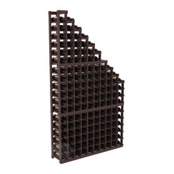 Wine Cellar Waterfall Display Kit in Redwood with Walnut Stain + Satin Finish - A beautiful cascading waterfall of wine bottle displays. Create a spectacle of 9 of your favorite vintages. Designed within our modular specifications and to Wine Racks America's superior product standards, you'll be satisfied. We guarantee it.