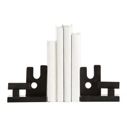Arteriors - Loki Bookends, Pair - These blackened iron book ends look great in a variety of positions and can even be used separately as single sculptures.