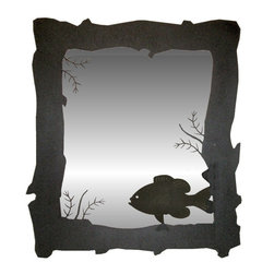 Wildlife Decor - Rough Outside Edge Mirror, Wrinkle Black, Pan Fish - This is a heavy decorative mirror that hangs easily by stainless steel wire like a picture.