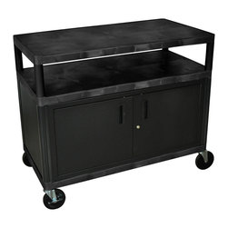 """Luxor - Luxor Industrial Cart - HEW335C-B - All new. Luxor Industrial cart. Molded plastic shelves and legs wont stain, scratch, dent or rust. 400 lb weight capacity (evenly distributed). Steel locking cabinet with full piano hinge, great for storing transportation of supplies. New Heavy-Duty 5"""" Ball-bearing casters, two with locking brake. Black. Lifetime warranty. 48""""W x 24""""D x 38""""H"""