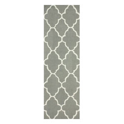 Nuloom - nuLOOM Handmade Wool Moroccan Trellis Grey Rug (2'6 x 8') - Invoke the feel and warmth of a country home with this stunning woolen trellis hand-hooked rug. Meticulously made using a petit point stitches construction,make your favorite space feel right at home.