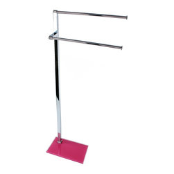 Gedy - Chrome Towel Stand with Pink Thermoplastic Resins Base - Just the towel stand for a more modern master bathroom - start with this towel stand.