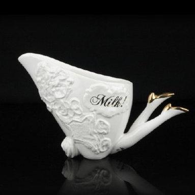 Blaue Blume Milk Jug, White with Gold Shoes -