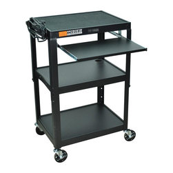 Luxor Furniture - Adjustable AV Cart w Pullout Keyboard Tray (G - Color: GreenIncludes 4 in. swivel casters and safety mats. Two casters with locking brake. 3-outlets 15 ft. UL and CSA listed electrical assembly with cord plug snap. Three shelves. Roll formed shelves with powder coat paint finish. 0.25 in. lip around each shelf. Robotically welded and cables pass through holes. Made from steel. Assembly required. Keyboard shelf: 18.75 in. L x 11.75 in. W. Overall: 24 in. L x 18 in. W x 24 - 42 in. H. Warranty. Assembly Instructions