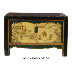 Chinese Black Yellow Green Kids Graphic Console Table - http://www.orientliving.com/chblyegrkigr.html#