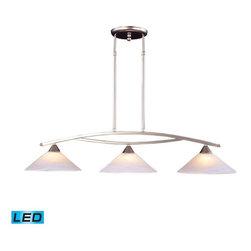 Elk Lighting - Elk Lighting 6502/3-LED Elysburg Modern Island Light in Satin Nickel - Elk Lighting 6502/3-LED Elysburg Modern Island Light in Satin Nickel