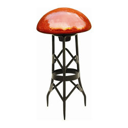 Achla - Mandarin Finish Toad Stool of Crackle Glass - * Finish: Mandarin. Construction: Crackle Glass. Wrought Iron Stand optional - Small, Large. 9 in. Dia