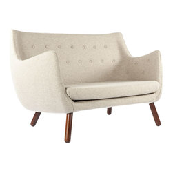 #N/A - The Poet Sofa - Wheat - The Poet Sofa - Wheat. The Poet Sofa is a great design for tight spaces.  Upholstered in Wool Blend Fabric with solid Walnut legs.