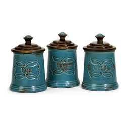 "IMAX - Provincial Canisters - Set of 3 - Adorable Teal glazed ceramic provincial coffee, tea, sugar canisters with mango wood lids Item Dimensions: (7""h x 5""d)"