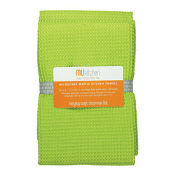 MU Kitchen Grass Waffle Microfiber Towel - The beautiful MU kitchen waffle microfiber dishcloth set is made from a revolutionary microfiber  a specially designed cloth that is woven in a unique pattern from polyester fibers that create tiny scoops that suck up dirt and attract micro-particles. Microfiber is softer than silk and stronger than cotton. The cloth is so well crafted  it renders harsh cleaning chemicals entirely unnecessary.Product Features                      Set of 2 - 17 x 25 in. towels          Waffle microfiber          Extremely absorbent and quick drying          Lint free and amazingly soft          Clean and polish wet or dry          Reduces bacteria growth with quick drying time          Finished with a hanging loop for convenience