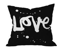 DENY Designs - Kal Barteski Love Black Throw Pillow, 18x18x5 - Throw — and show — some love with this pillow. In graphic black and white, it makes a bold and beautiful statement on your sofa, bed or bench. It's printed on woven polyester front and back, and includes a zipper closure and insert.