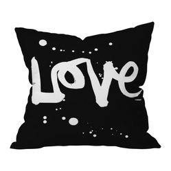 Kal Barteski Love Black Throw Pillow, 18x18x5