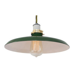 MPDESGINSHOP - The 14-inch Mott Lamp, Green & Yellow Cord - THE 14-inch MOTT LAMP is a vintage-inspired industrial hanging pendant shade lamp handmade in Philadelphia, PA. Each features a hand-spun green enamel-coated dome metal shade with white interior, and durable cotton cording in the color of your choice. Quickly and easily install this lamp anywhere you need some extra light with the included 2-inch screw hook.