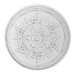 Renovators Supply - Ceiling Medallions White Urethane Ceiling Medallion 21'' Dia - Ceiling Medallions: Made of virtually indestructible  high-density  urethane our medallions are cast from  steel molds  making them the highest quality on the market. Steel molds provide a higher quality result for  pattern consistency, design clarity & overall strength & durability.  Lightweight they are  easily installed  with no special skills. Unlike plaster or wood urethane is resistant to  cracking, warping or peeling.   Factory-primed  these medallions are ready for finishing.