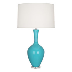 Robert Abbey - Audrey Table Lamp, Egg Blue - What if you could find a lamp with a ceramic base in a classic silhouette that comes in so many colors you literally want one in every room? This could be the one. Its pale luxe fabric shade sits atop a lucite base in shades from amethyst to baby blue and everything in between.