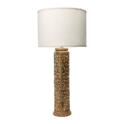 Lazy Susan - Lazy Susan Fluer De Lis Lamp - This Fleur De Lis Lamp Is Finished In A Distressed Finish To Allow A Casual Update To Traditional Decors.  Finished With A Clean Linen Shade In Off White.