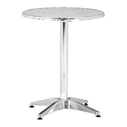 "Zuo - ""Zuo Christabel Folding Table, Aluminum"" - ""Sitting on a busy street corner, drinking a cup of coffee, updating the daily blog, while having a meal, the Christabel series is the perfect table to fit any caf? setting. This all aluminum table is MDF wrapped. The base sits on adjustable feet to contour to level. This series comes with everything as well as an adjustable a fix, ranging from table height to bar height. The Christabel is perfect for any setting. Dimensions (W x L x H): 23.5"""" x 23.5"""" x 31""""Cubic Feet: 1.73Weight: 14.4 lbsMaximum Weight Capacity: 20 lbsProduct Material: AluminumAssembly Required: Yes"""