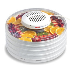 Metal Ware Corp. - Nesco 400 Watt Dehydrator - Nesco FD-37 Food Dehydrator with clear cover. This unit features Nesco/American Harvest's innovative Top Mounted Powerhead that dries food quickly and evenly with superior results. Detaches to make dehydrator dishwasher safe for easy clean up. Fan-Flow Technology means faster more even drying with no tray rotation necessary. Make great tasting beef jerky or venison jerky! Also makes delicious turkey jerky fish jerky homemade trail mix apple snacks banana chips dried soup mixes. Dry tomatoes watermelon cantaloupes papaya and many other fruits.
