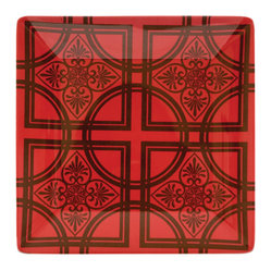 Working Class Studio - Wrought Irony Melamine - Dinner Plate Set of 4 - To give your dining decor an easy upgrade, remember: Everything old is new again. Vintage ironwork is the inspiration behind these square melamine dinner plates — set them out to add visual spice to your everyday meals.