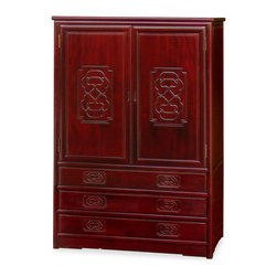 "China Furniture and Arts - Rosewood Ling-Chi Design Armoire - To be used for storing clothes or converted into an entertainment center, the armoire is quite versatile in its function. Maintaining aesthetic appeal with a hand carved Chinese Ling-Chi motif and dark cherry finish, the piece also contains ample storage space behind doors with removable shelving and hanging rod. The spacious interior compartment measures 38""W x 18""D x 36.5""H, and each drawer measures 35.5""W x 15.75""D x 4""H. Made of solid rosewood and crafted with traditional joinery techniques, this piece is sure to have long lasting durability."