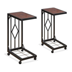 Wood Veneer TV Dinner Tray Tables - These rolling stands are great because they help prevent spills while you are concentrating on a movie or the TV.