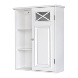 Elegant Home Fashions - Dawson Wall Cabinet With One Door & Shelves - The Dawson Cabinet with One Door and Shelves from Elegant Home Fashions comes in in a white finish. This wall cabinet blends old-world and contemporary styling for a charming look that complements any bathroom. The cabinet design offers ample storage. The cabinet features one adjustable and two fixed open shelves that are ideal for storing items of different sizes.  The crisscross accent on the door's glass panel and clear knob add a charming touch. This cabinet comes with assembly hardware.