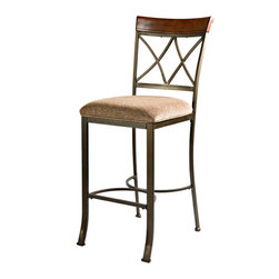 "Powell - Powell Hamilton Bar Stool in Medium Cherry - The Hamilton bar stool features a diamond shaped back and slight curved legs. The top of the back piece is a sleek ""Brushed faux medium cherry"" wood, while the frame is a ""Matte pewter and bronze"" metal. This piece is sure to add interest and extra seating to your table. Perfect complement to the Hamilton pub table. Some assembly required."
