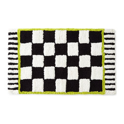 """MacKenzie-Childs - Courtly Check Bath Mat - BLACK/WHITE - MacKenzie-ChildsCourtly Check Bath MatDesigner About MacKenzie-Childs:Established in 1983 MacKenzie-Childs combines vibrant colors and patterns to create a whimsical collection of tableware furniture and decorative accessories that epitomize """"tradition with a twist."""" The company's designers draw inspiration from the pastoral setting of their studios located on a 65-acre former dairy farm in Aurora New York."""