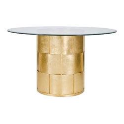 "Worlds away - Amanda Round Dining Table, Gold Leaf - Gold Leaf Basketweave Dining Table W. 54"" Dia Glass Top"