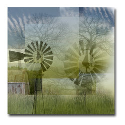 Windmill Collage - Canvas, 20x20x3 - This is one in a new series of images I called Nature Walls.  The idea is to collage a collections of images from nature with a handful  of primitive architectural structures. There are many layers to this image and you can look for a long time and not see them all.  But in the end, the composition must hold together as one piece.  You will have to decide if it works for you.