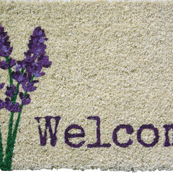 Entryways - Lavender Welcome Hand Woven Coconut Fiber Doormat - Single Doormat, hand-woven, hand-painted, hand-stenciled, fade resistant, natural coir (coconut fiber), durable, best location is covered area, shake or sweep clean.