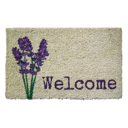 Entryways - Lavender Welcome Handwoven Coconut Fiber Doormat - Single Doormat, hand-woven, hand-painted, hand-stenciled, fade resistant, natural coir (coconut fiber), durable, best location is covered area, shake or sweep clean.