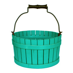 Antique Revival - Turquoise Cranston Orchard Bucket - Decorate your home with this little wooden bucket. Handcrafted and pieced together, the turquoise finish on this piece will bring a splash of color to the room it is placed in, and will also be great for storing magazines and knick knacks.