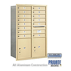 Salsbury Industries - 4C Horizontal Mailbox - 13 Door High Unit - Double Column - 14 MB1 Doors / 2 PL5 - 4C Horizontal Mailbox (Includes Master Commercial Locks) - 13 Door High Unit (48 Inches) - Double Column - 14 MB1 Doors / 2 PL5's - Sandstone - Rear Loading - Private Access