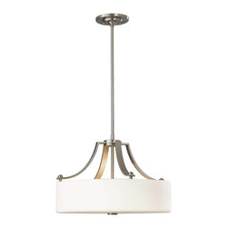 Murray Feiss - Murray Feiss Sunset Drive Drum Shade Pendant Light in Brushed Steel - Shown in picture: Sunset Drive Chandelier - Up in Brushed Steel finish with White Opal EtchGlass
