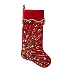 KIM SEYBERT Christmas Stocking-Spectrum Red/Gold $65 - BEST PRICE & SATISFACTION GUARANTEED!
