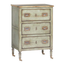 Kathy Kuo Home - Verne French Country Cherry Maple Wood Light Blue Night Table - A versatile, three-drawer cherry chest is perfectly proportioned for space-saving storage. The petite, French Country table is delightful as a nightstand in between twin beds or as a dresser in a guest room. Recessed brass handles add antique detail while convenient casters provide mobility.